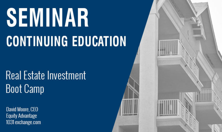 Real Estate Investment Boot Camp, 1031 Exchange and IRA Class, Thursday April 19th