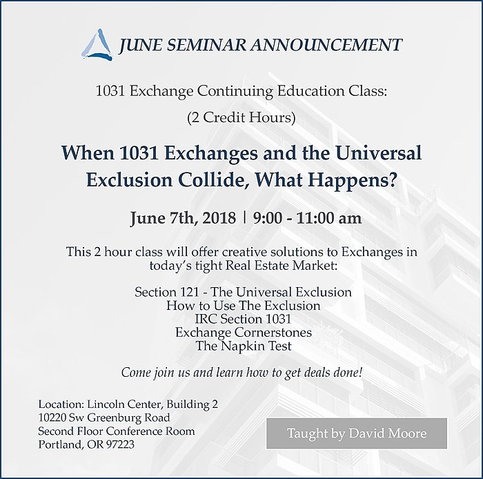 June 1031 Exchange Class 2018