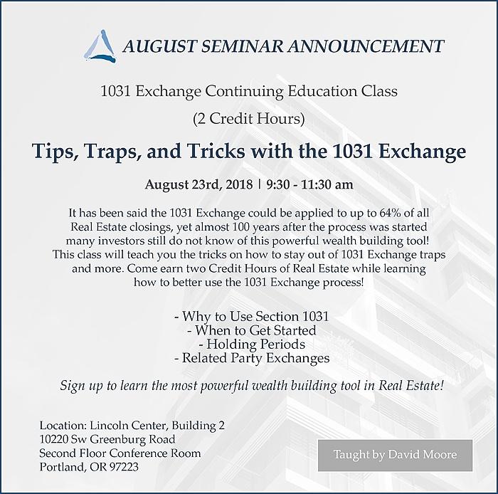 August 1031 Exchange Seminar