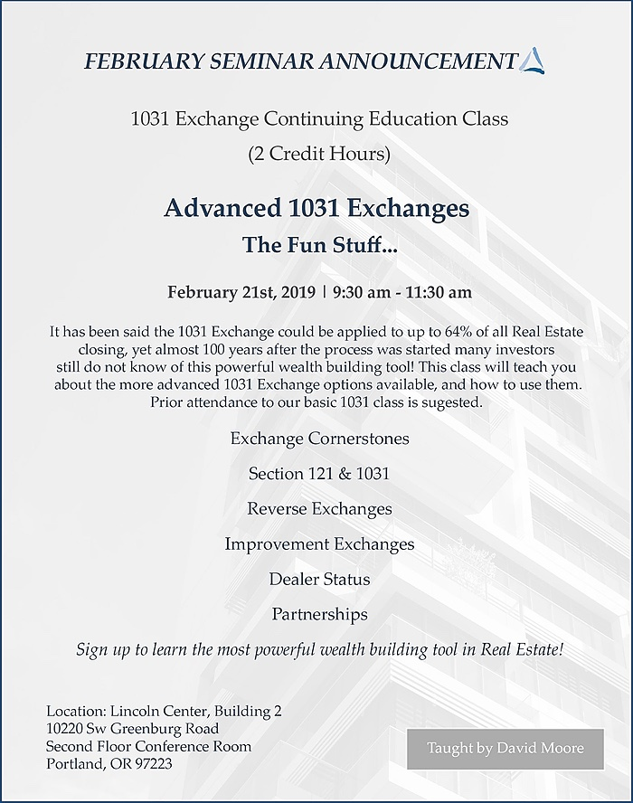 Advanced 1031 Exchanges the Fun Stuff February Course