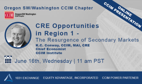 WEBINAR: The Resurgence of Secondary Markets Featuring K.C. Conway, CCIM – Wednesday June 16th, 2021